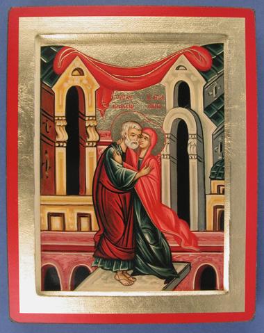 icône représentant Anne et Joachim nimbés de sainteté