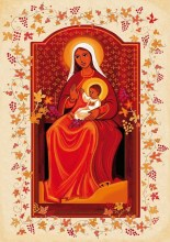 Vierge à l'enfant assise couleur dominante orange