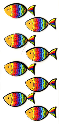 Stickers ichtus couleurs 4 cm